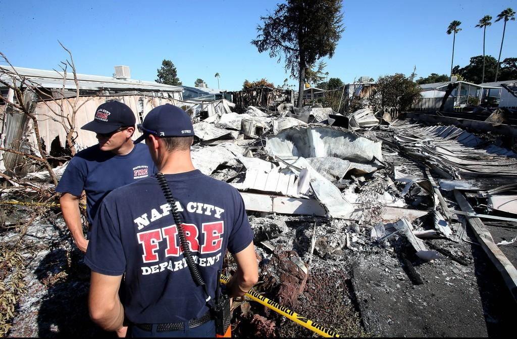 A 6.0 magnitude earthquake left four homes homes destroyed by fire and at least two others badly charred at the Napa Valley Mobile Home Park in Napa, Calif., on Sunday, Aug. 24, 2014. The community was left without water and power, and many of the homes were knocked off their foundations by the early morning temblor. (Luis Sinco/Los Angeles Times/MCT)