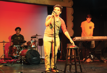 """Andres Hernandez, lead singer of """"Thanks"""" along with Brett Gilbert and Ross Fiol perform songs from their new album."""