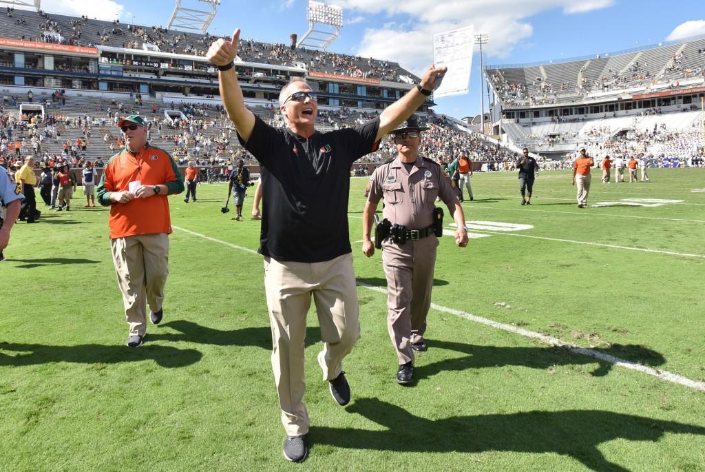 Miami+head+coach+Mark+Richt+celebrates+after+a+35-21+win+against+Georgia+Tech+at+Bobby+Dodd+Stadium+in+Atlanta+on+Saturday%2C+Oct.+1%2C+2016.+%28Hyosub+Shin%2FAtlanta+Journal-Constitution%2FTNS%29