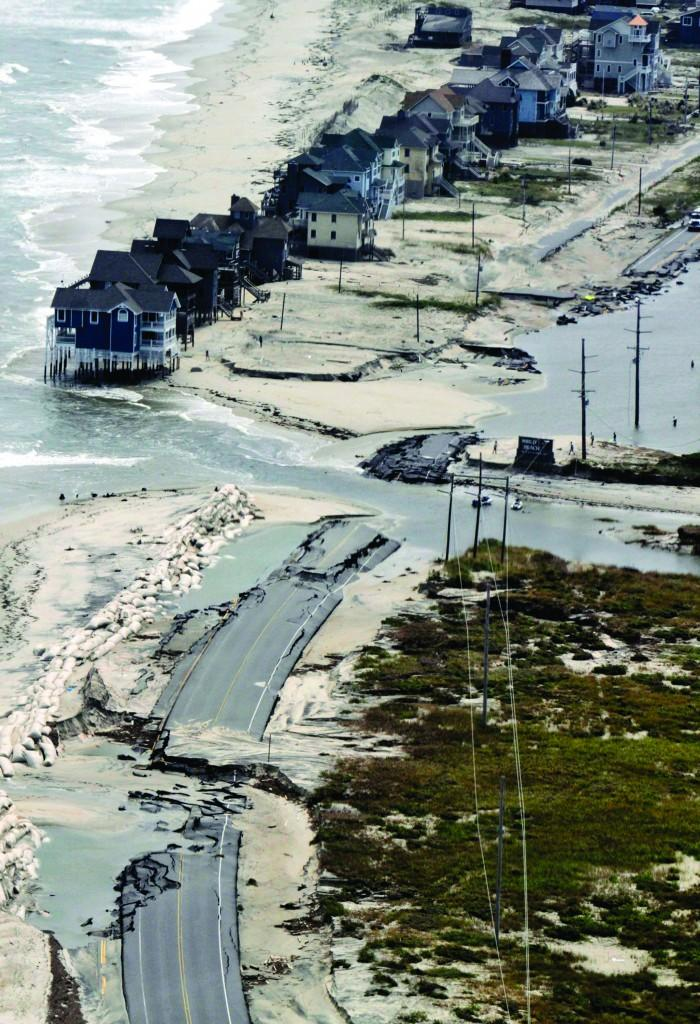 A section of Highway 12 at the edge of Rodanthe, North Carolina, was destroyed by Hurricane Irene in 2011. Such damage is expected to become more common as sea levels rise. (Chris Seward/Raleigh News & Observer/TNS)