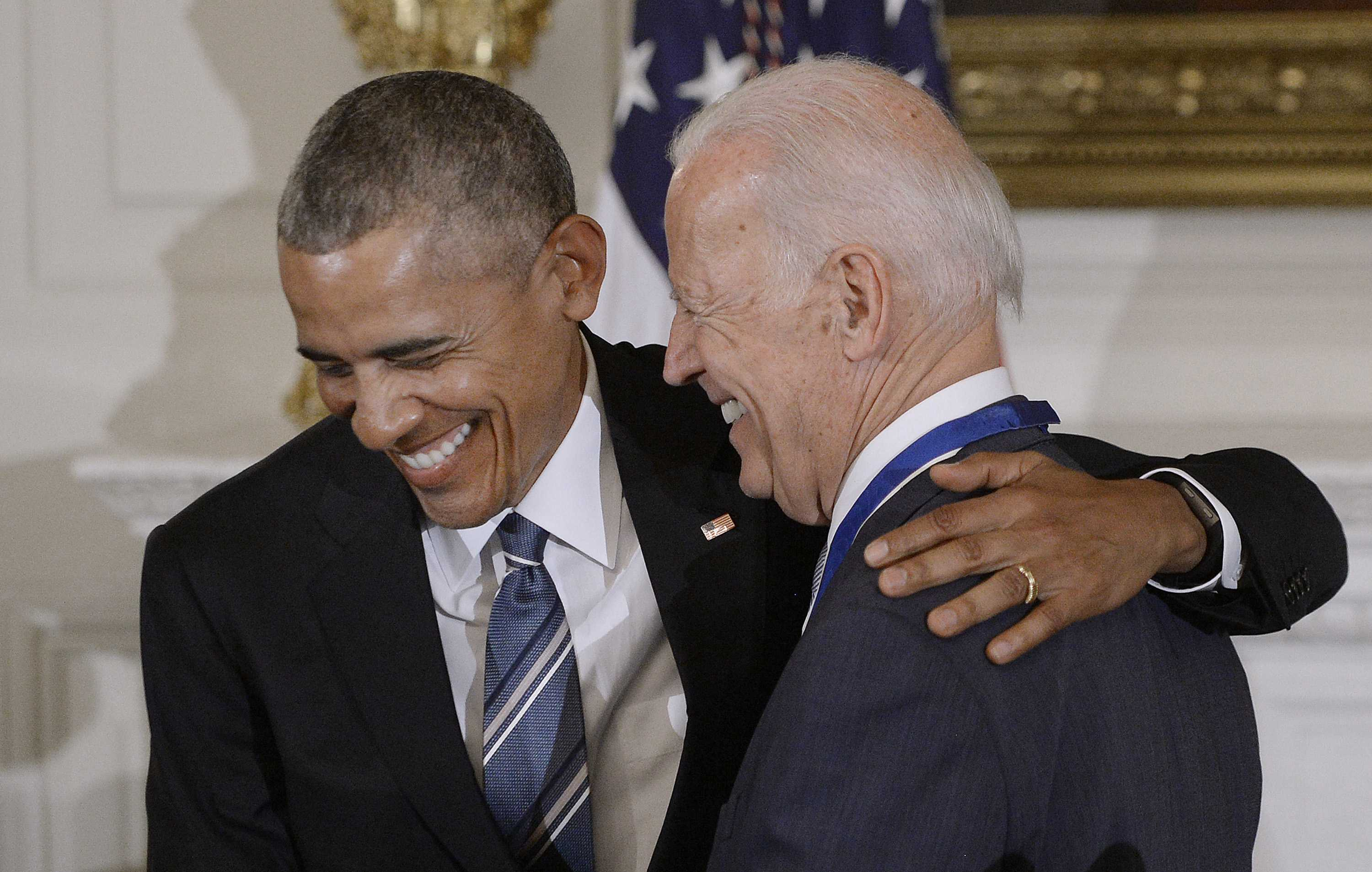 U.S. President Barack Obama jokes with Vice-President joe Biden after he presented him the Medal of Freedom during an event in the State Dining room of the White House, Jan. 12, 2017 in Washington, D.C. (Olivier Douliery/Abaca Press/TNS)