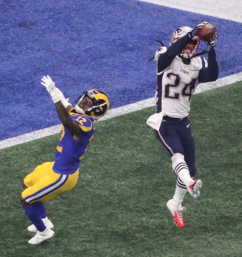 New+England+Patriots+cornerback+Stephon+Gilmore+%2824%29+gets+an+interception+in+the+fourth+quarter+against+the+Los+Angeles+Rams+during+Super+Bowl+LIII+at+Mercedes-Benz+Stadium+in+Atlanta+on+Sunday%2C+Feb.+3%2C+2019.+The+Patriots+won%2C+13-3.+%28John+Spink%2FAtlanta+Journal-Constitution%2FTNS%29