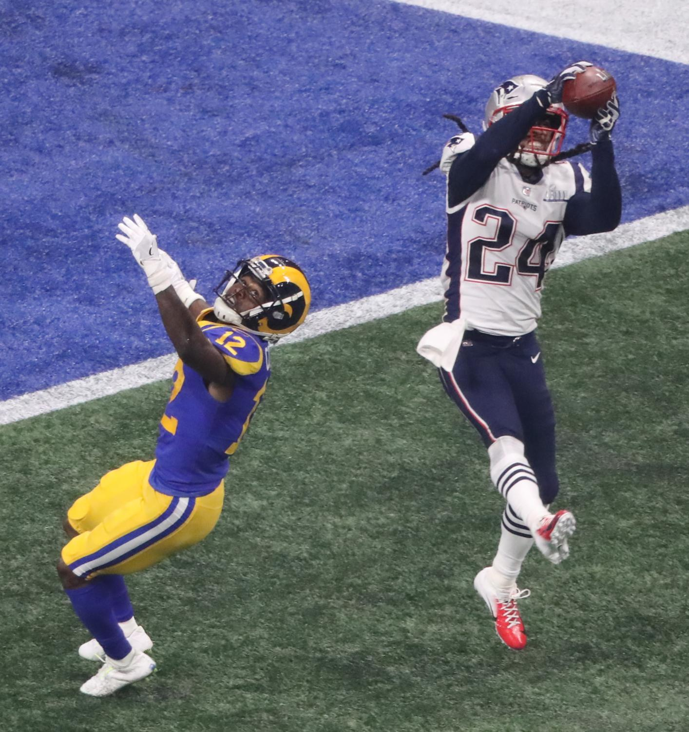 New England Patriots cornerback Stephon Gilmore (24) gets an interception in the fourth quarter against the Los Angeles Rams during Super Bowl LIII at Mercedes-Benz Stadium in Atlanta on Sunday, Feb. 3, 2019. The Patriots won, 13-3. (John Spink/Atlanta Journal-Constitution/TNS)
