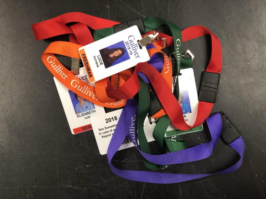 Color-coded+IDs+%28orange+for+freshmen%2C+purple+for+sophomores%2C+green+for+juniors%2C+and+red+for+seniors%29+aim+to+increase+student+safety+on+campus.+Photo+by+Pedro+Schmeil.+