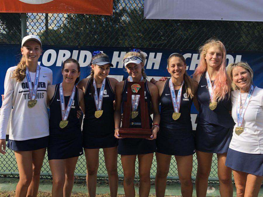 Tori Hagenlocker (9), Katie Lewis (9), Sofia Restrepo (10), Sophia Fornaris (10), Katerina Navarro (11), Chiara von Gerlach (11), and Coach Kelly Mulligan won the Class 2A state championship in Orlando. Other members of the team included Daniela Chiarini (9), Sophia Hernandez (10), Paulina Guajardo (9), Natalia Caceres Carrascal (12), Flo Bullrich (9), and Martina Mengoni (9). Photo by R.C. Ganser.