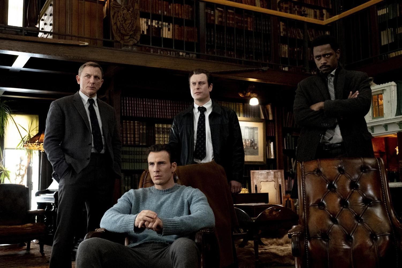 Daniel Craig, from left, Chris Evans, Noah Segan and Lakeith Stanfield in