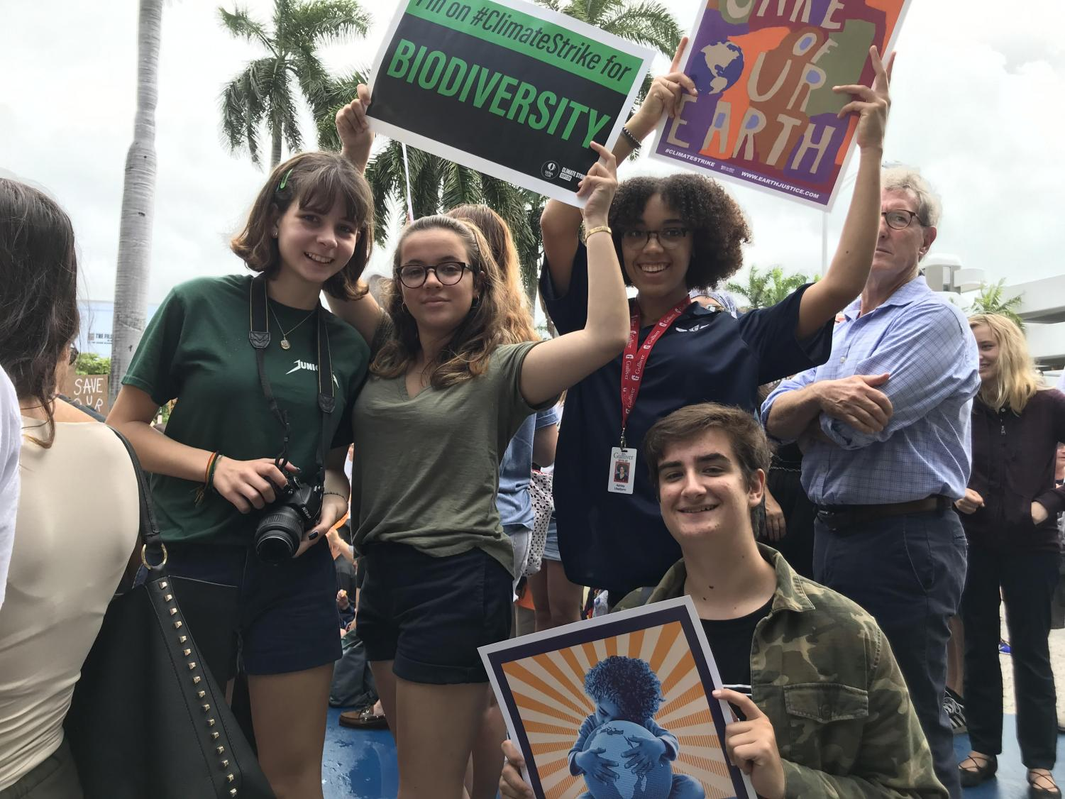Gulliver students Laura Attarian, Ashley Ubalijoro, Alessia Bianco, and Pedro Schmeil participate in the September Fridays for Future climate strike.