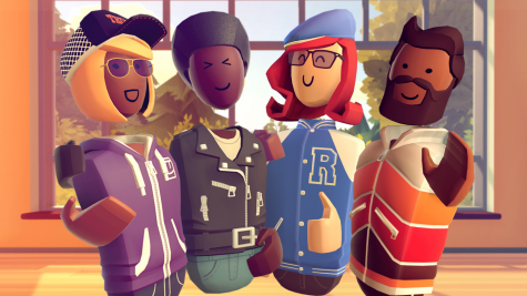 Several players pose together for a picture in the VR game Rec Room. Virtual reality is a fun and creative way to connect with friends while social distancing. Used with permission from RecRoom, Inc.