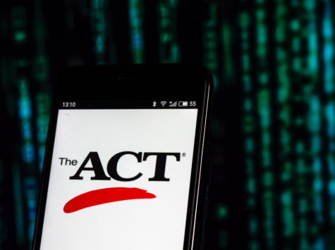 The ACT, Inc. standardized test company logo displayed on a smartphone in a photo illustration. The ACT has been rescheduled to June 13 in response to concerns regarding the spread of the coronavirus. (Igor Golovniov/SOPA Images/LightRocket/Getty Images/TNS)