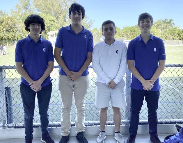 Sophomores+Alejandro+Antorcha%2C+Marcelo+Basterra%2C+Michael+Politis%2C+and+Matteo+Wakeman+placed+first+in+the+6th+Annual+Business+Showcase.+Their+project%2C+Kairos%2C+aimed+to+help+college+students+with+financial+aid+through+the+use+of+an+app.