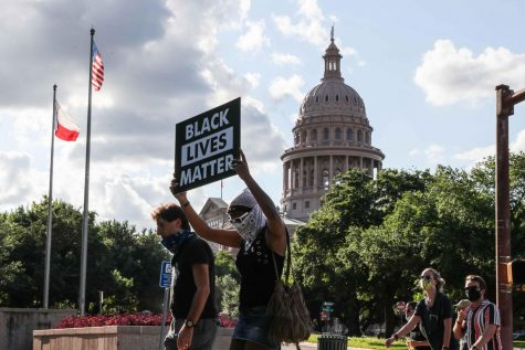 Black Lives Matter protesters are shown in June marching toward the state Capitol.