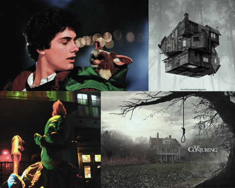 "The best horror films to watch this October, recommended by copy editor Paulino Mercenari. Clockwise starting from top left: ""Gremlins,"" ""The Cabin in the Woods,"" ""The Conjuring,"" and ""Killer Klowns from Outer Space."""