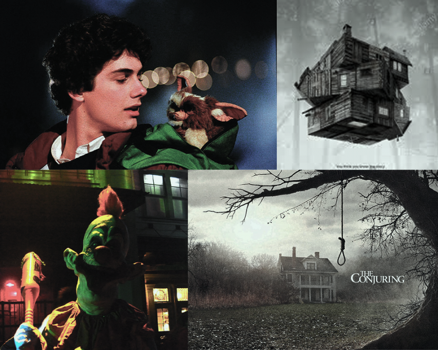"""The best horror films to watch this October, recommended by copy editor Paulino Mercenari. Clockwise starting from top left: """"Gremlins,"""" """"The Cabin in the Woods,"""" """"The Conjuring,"""" and """"Killer Klowns from Outer Space."""""""