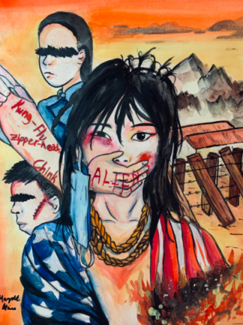 Junior Margaret Miao reflected on the experiences with discrimination of herself and other Asian Americans in her writing piece, Arent I An American? She created this art piece with watercolors and Chinese ink.