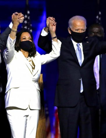 On November 7, 2020, Vice-President-elect Kamala Harris and President-elect Joe Biden celebrate with supporters after declaring victory at the Chase Center in Wilmington, Delaware.