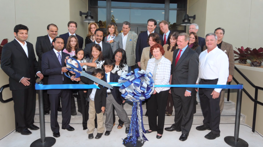 The ribbon-cutting ceremony for the new Shah Family Library and Media Center on December 8, 2010.