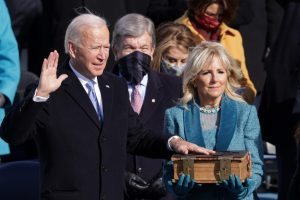 Joe Biden is sworn in as U.S. President during his inauguration on the West Front of the U.S. Capitol on January 20, 2021, in Washington, DC. During today's inauguration ceremony Joe Biden becomes the 46th president of the United States