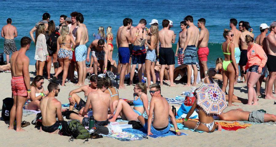 Pockets of the beach were crowded in Fort Lauderdale, Florida on Thursday, March 4, 2021, as spring break is starting to ramp up in South Florida beaches and nearby bars.