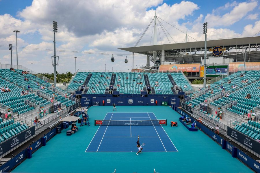 A general view of the singles first round match between Yen-Hsun-LU of Taiwan and Sam Querrey of United States on the Grandstand Court on Day 3 of the 2021 Miami Open presented by Itaú at Hard Rock Stadium on March 24, 2021 in Miami Gardens, Florida.