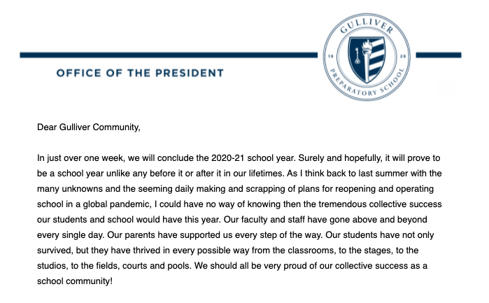 On May 20, President Cliff Kling announced through an email that students must attend school in-person for the 2021-2022 school year, starting in August.