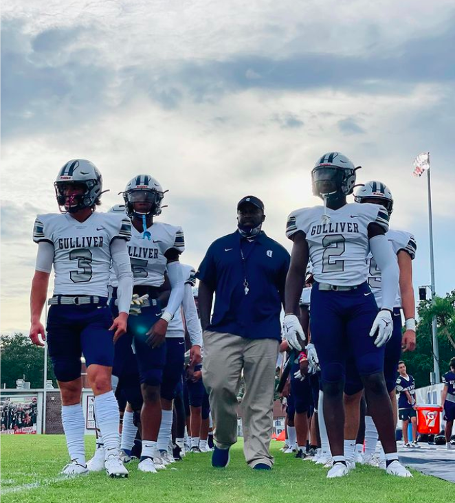The Raiders take the field against Manatee High School in Bradenton on Friday. They emerged victorious, with a final score of 20-7.