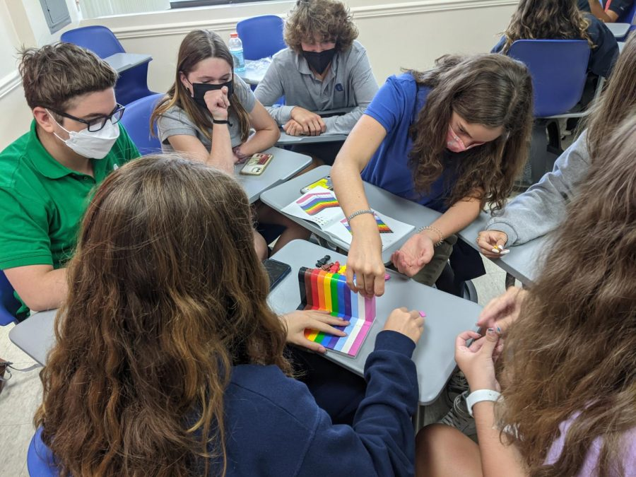 Students in an advisory class learned about inclusivity and created a rainbow LEGO structure to demonstrate diversity on campus. Advisory aims to help students feel more comfortable on campus and make new connections.
