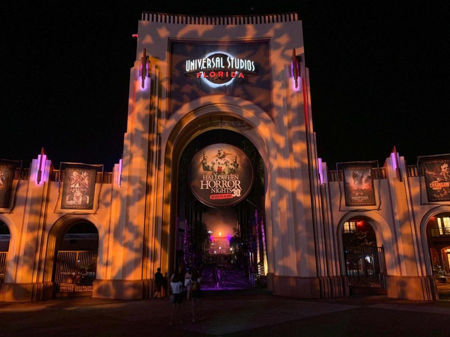 Spooky projections and fire greet visitors to the first night of Universals Halloween Horror Nights 2021, the 30th edition of the event.