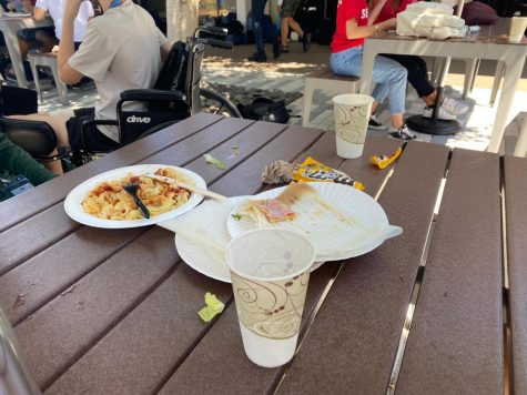 It is not uncommon to find the outdoor tables still covered with abandoned plates and cups after a lunch period ends. Students leaving behind trash and messy lunch tables has become a major problem on campus.