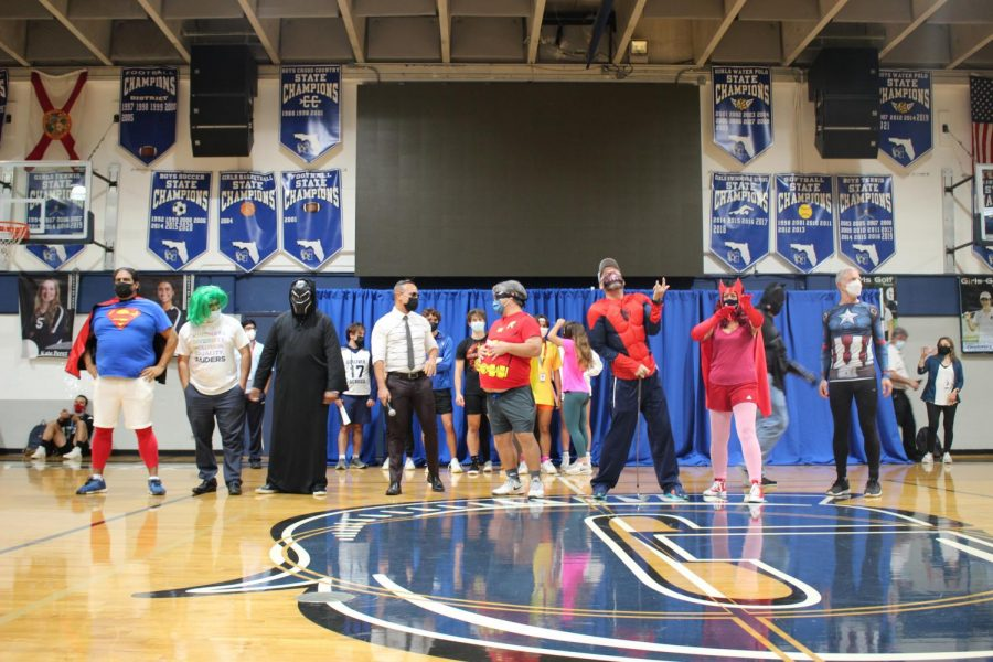 For the annual teacher skit, teachers dressed up as superheroes as a comical surprise for the students. The performance accompanied a video the teachers made and displayed at the pep rally.